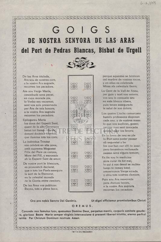 Goigs de Nostra Senyora de las Aras del Port de Pedras Blancas, Bisbat de Urgell
