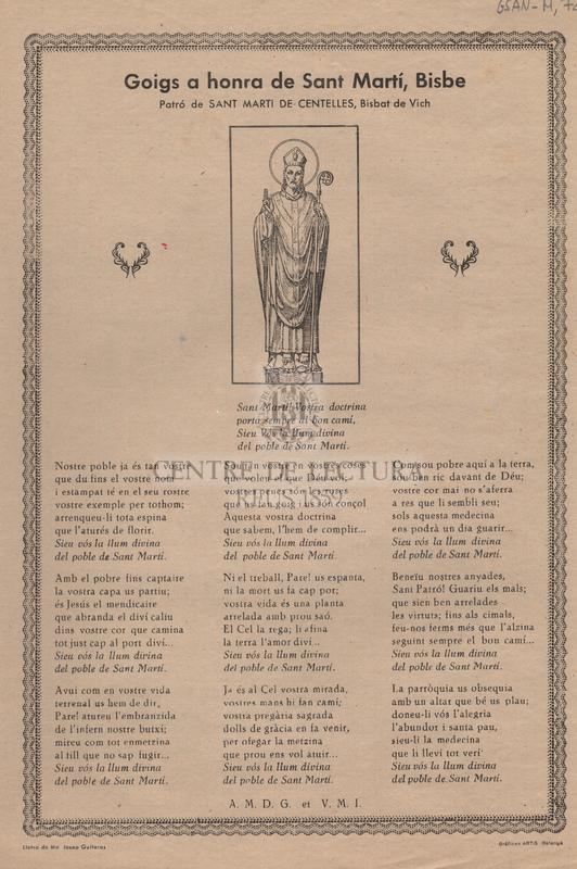 Goigs a honra de Sant Martí, Bisbe. Patró de Sant Martí de Centelles, Bisbat de Vich