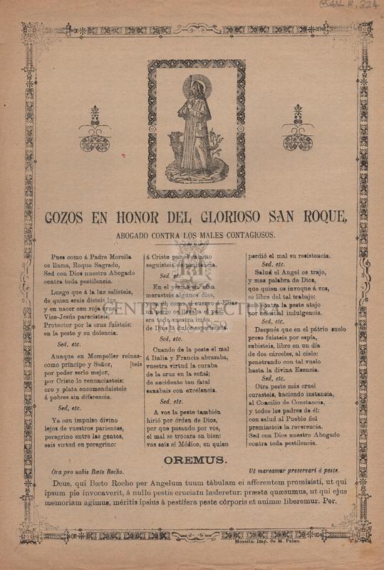 Gozos en honor del glorioso San Roque, abogado contra los males contagiosos