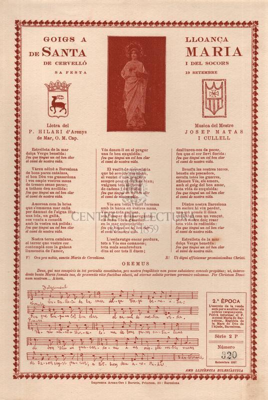 Goigs a lloança de santa Maria de Cerevlló i del Socors, sa festa 19 setembre