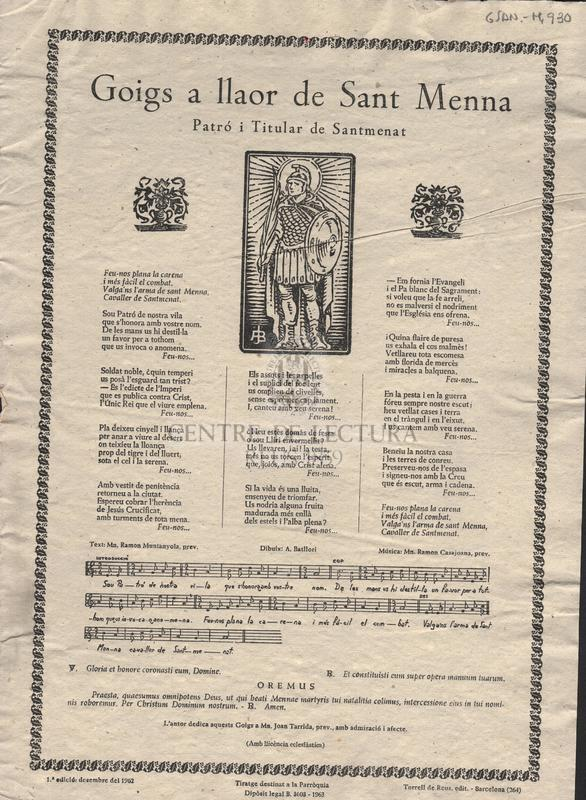 Goigs a llaor de Sant Menna Patró i Titular de Santmenat