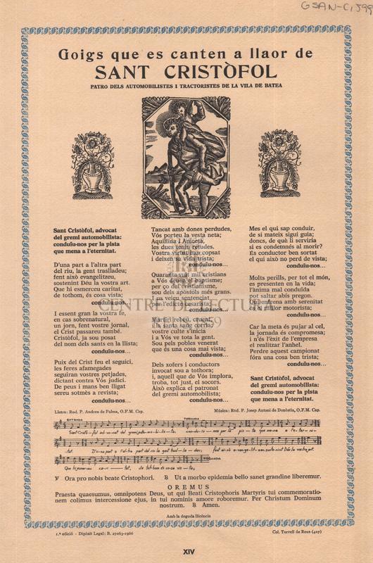 Goigs que es canten a llaor de Sant Cristòfol patró dels automobilistes i tractoristes de la vila de Batea
