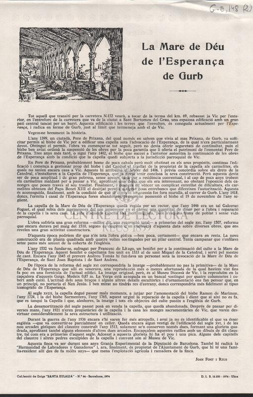 Goigs de la Mare de Déu de l'Esperança antigament venerada en la seva capella del terme de GURP (Bisbat de Vic)