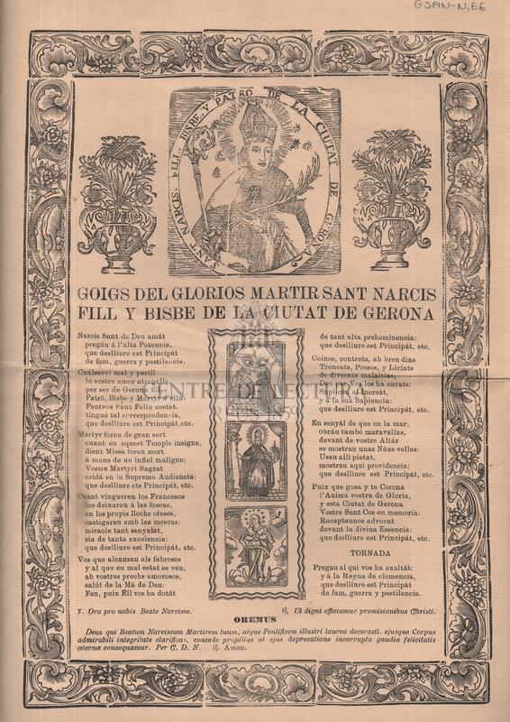 Goigs del gloriós martir Sant Narcís fill y bisbe de la ciutat de Gerona