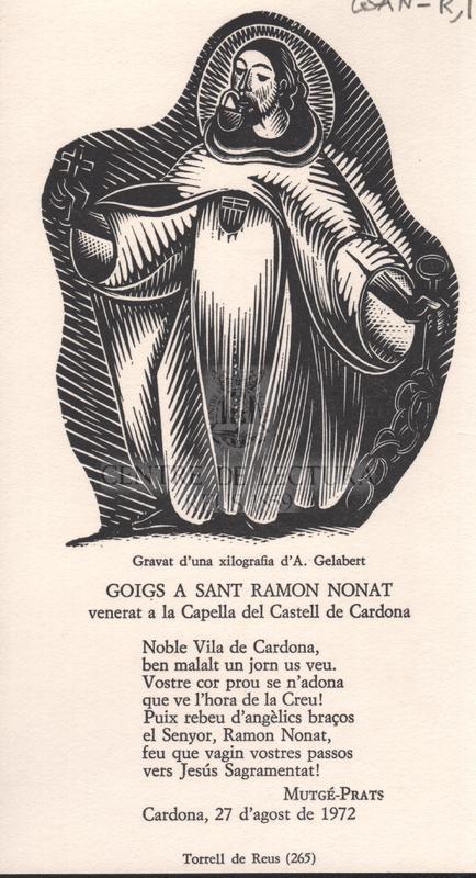 Goigs a Sant Ramon Nonat, venerat a la Capella del Castell de Cardona