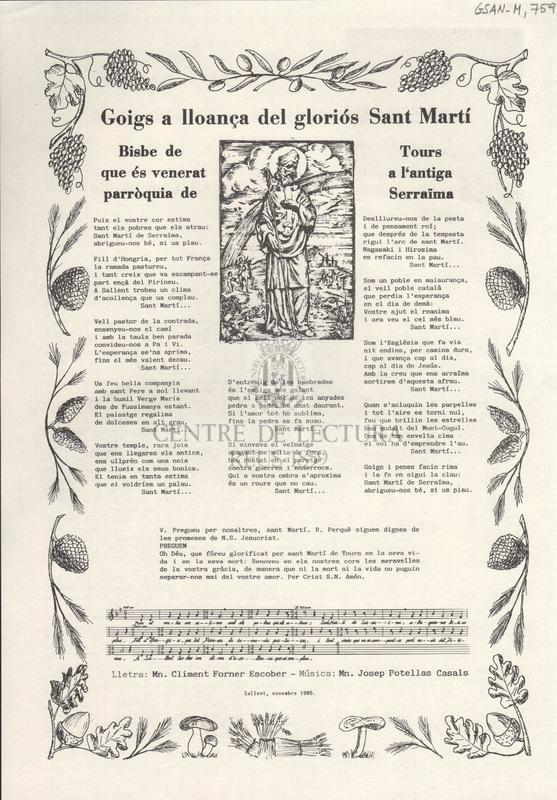 Goigs a lloança del gloriós Sant Martí. Bisbe de Tours que és venerat a l'antiga parròquia de Serraïma