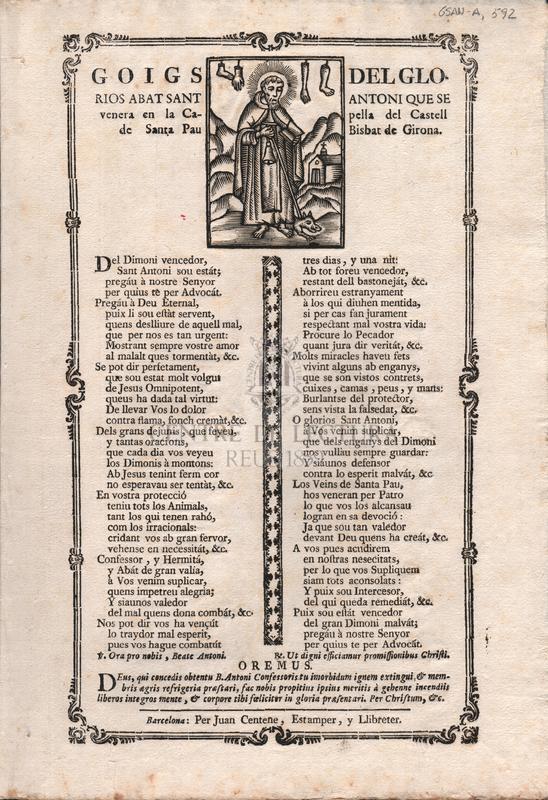 Goigs del glorios Sant Antoni que se venera en la Capella del Castell de Santa Pau Bisbat de Girona.