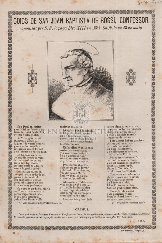 Goigs de san Joan Baptista de Rossi, confessor, canonisat per S. S. lo papa Lleó XIII en 1881, Sa festa en 23 de maig