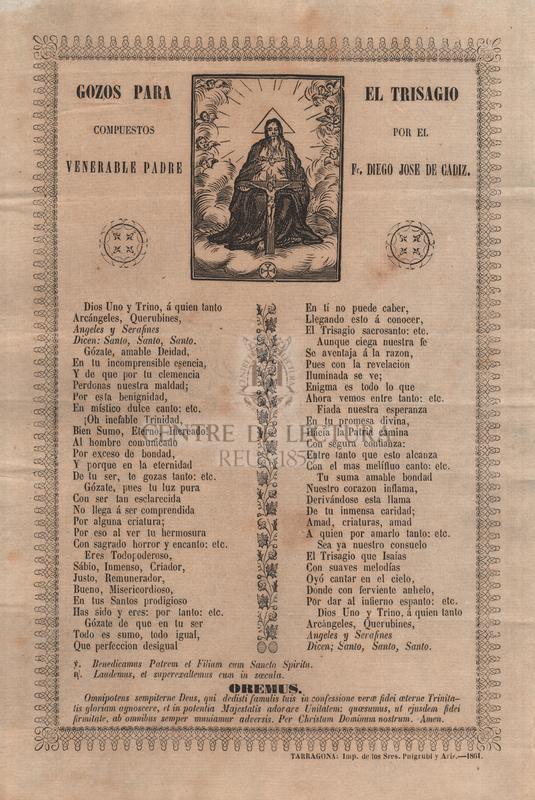 Gozos para el trisagio compuestos por el venerable padre Fr. Diego Jose de Cadiz