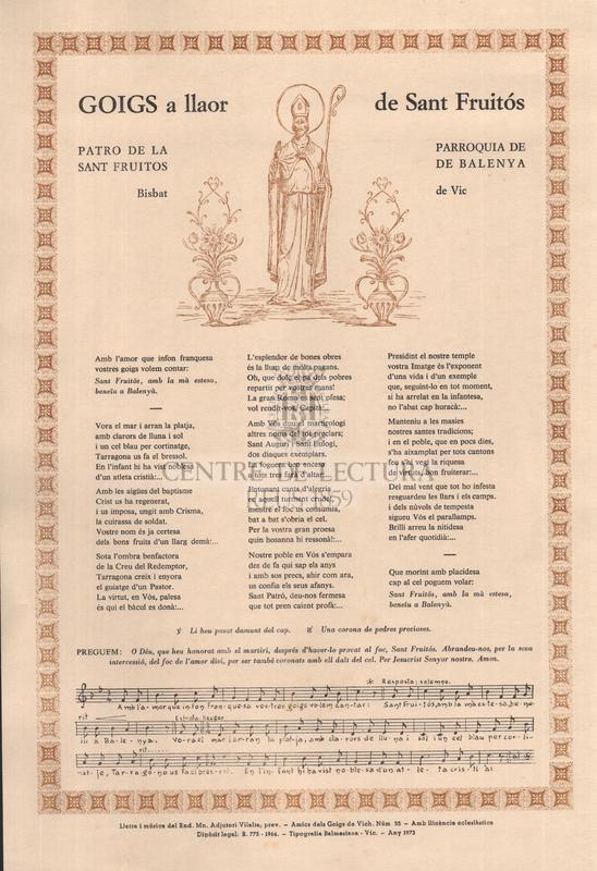 Goigs a llaor de Sant Fruitós, patro de la parroquia de Sant Fruitos de Balenya, Bisbat de Vic