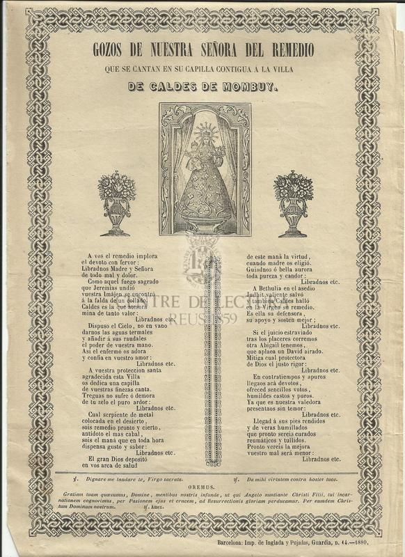 Gozos de Nuestra Señora del Remedio que se cantan en su capilla contigua a la villa de Caldes de Mombuy