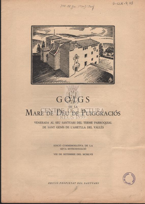 Goigs a llaor de la Verge de Puiggraciós.