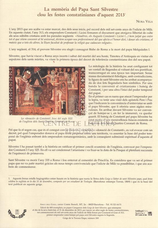 Goigs en llaor de Sant Silvestre, Papa, qual festa celebra l'església el dia 31 de desembre