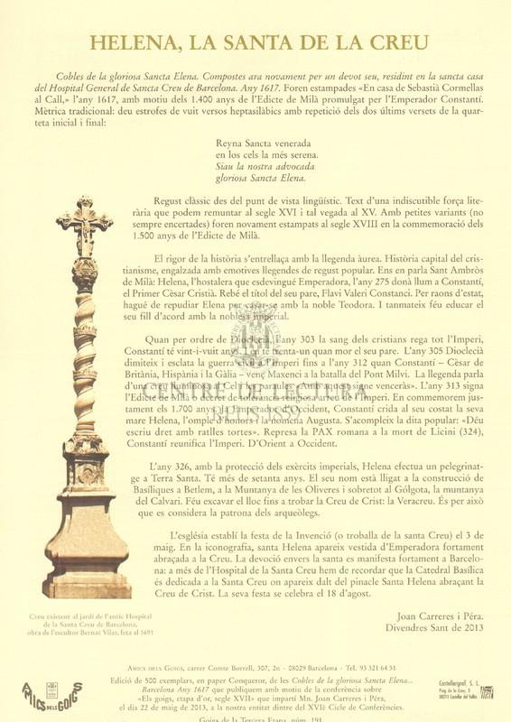 Cobles de la gloriosa Santa Elena. Compostes ara novament per un devot seu, residint a santa casa de l'Hospital General de Santa Creu de Barcelona, 1617