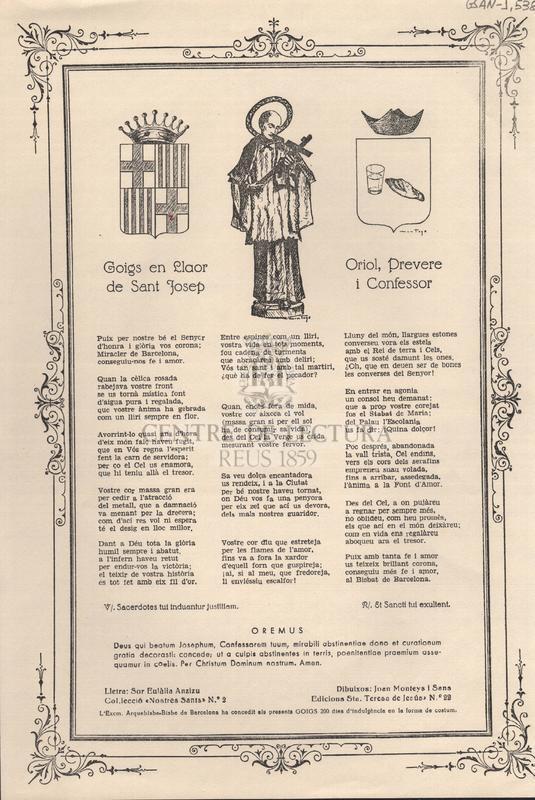 Goigs en llaor de Sant Josep Oriol, Prevere i Confessor