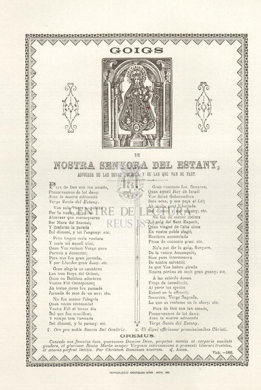 Goigs de Nostra Senyora del Estany, advocada de las donas estérils, y de las que van de part<br /><br />