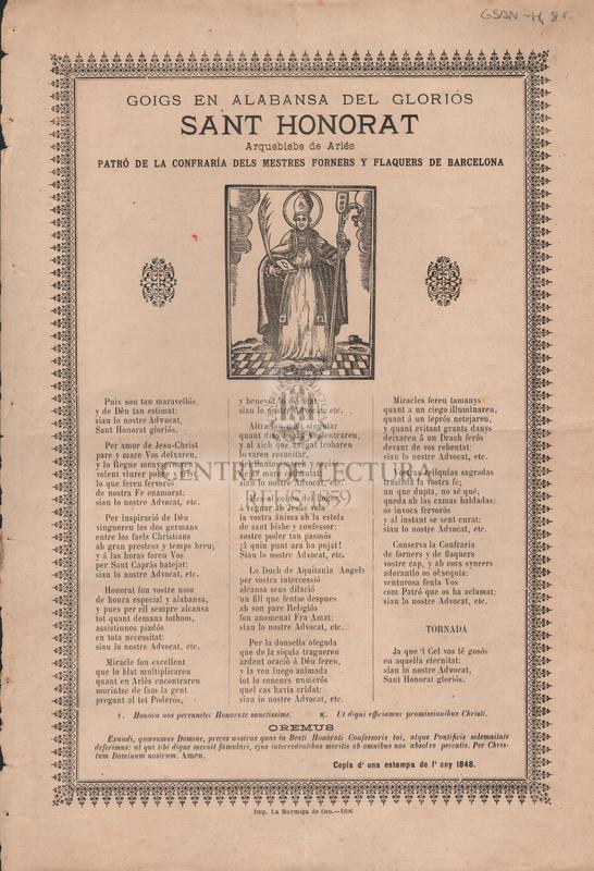 Goigs en alabansa del gloriós Sant Honorat Arquebisbe de Arlés patró de la confraría dels mestres forners y flaquers de Barcelona.