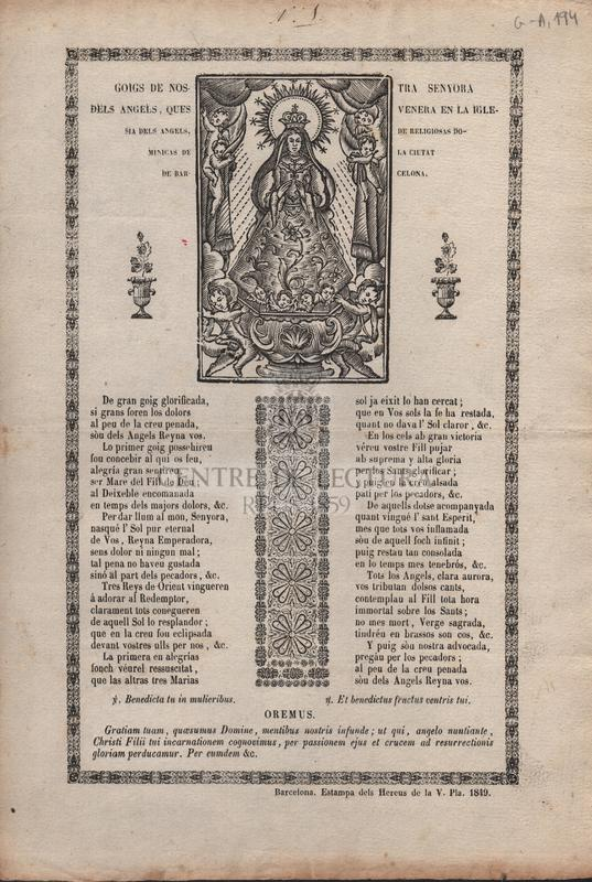 Goigs de Nostra Senyora dels Angels, ques venera en la Iglesia dels Angels, de religiosas Dominicas de la ciutat de Barcelona