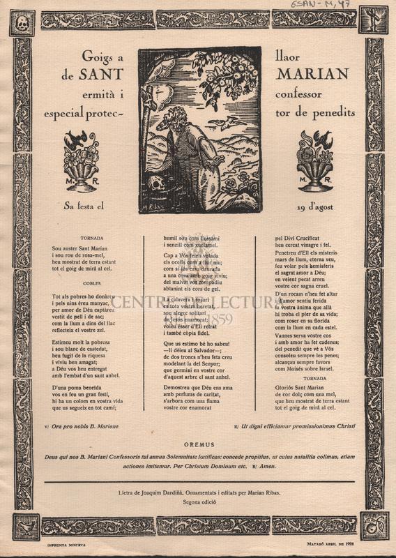 Goigs a llaor de Sant Marian ermità i confessor especial protector de penedits