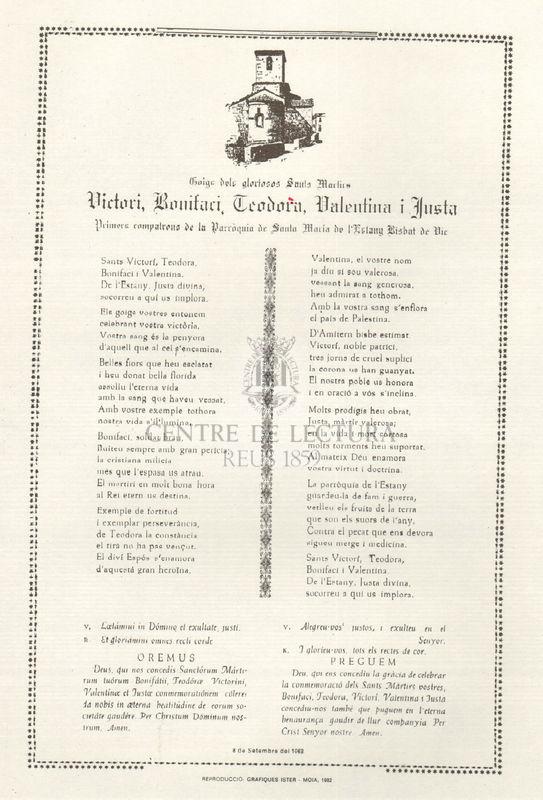 Goigs dels gloriosos sants martirs Victori, Bonifaci, Teodora, Valentina i Justa, primers compatrons de la parròquia de Santa Maria de l&#039;Estany Bisbat de Vic<br /><br />
