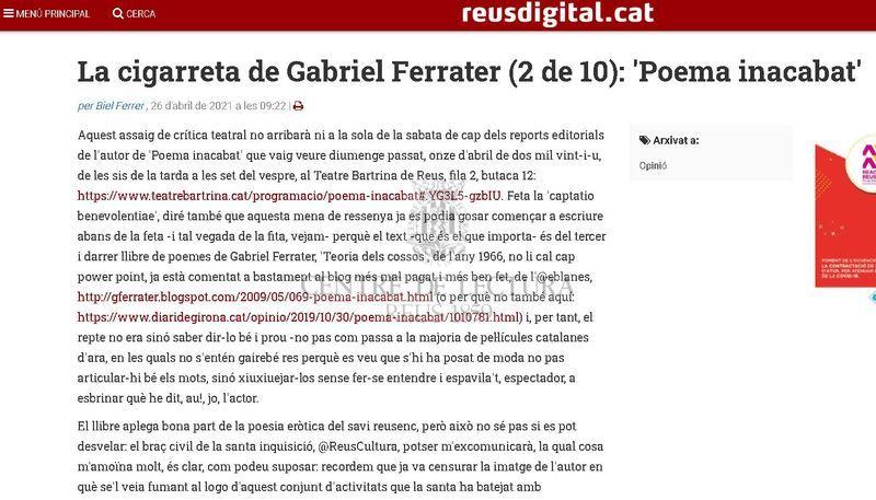 La cigarreta de Gabriel Ferrater (2 de 10): 'Poema inacabat'