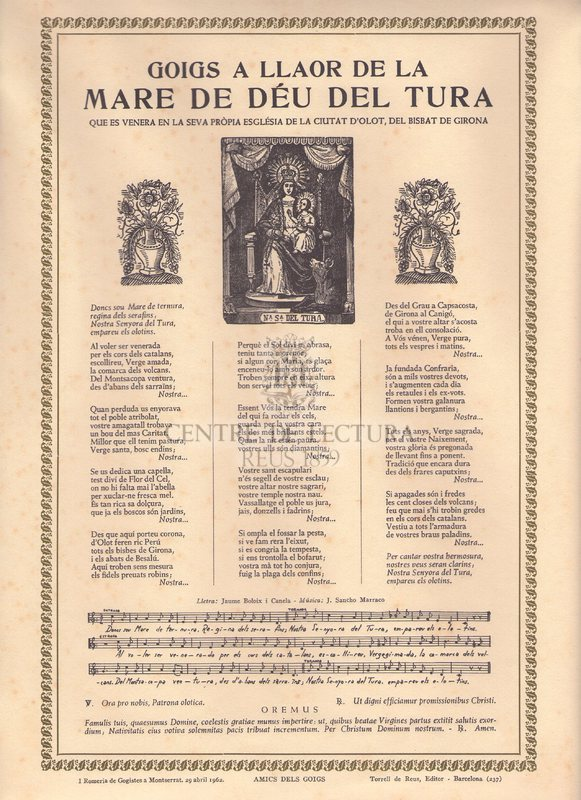 Goigs a llaor de la Mare de Déu del Tura que es venera en la seva pròpia església de la ciutat d'olot, del Bisbat de Girona
