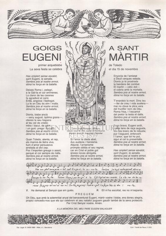 Goigs a Sant Eugeni màrtir, primer arquebisbe de Toledo. La seva festa se celebra el dia 15 de novembre