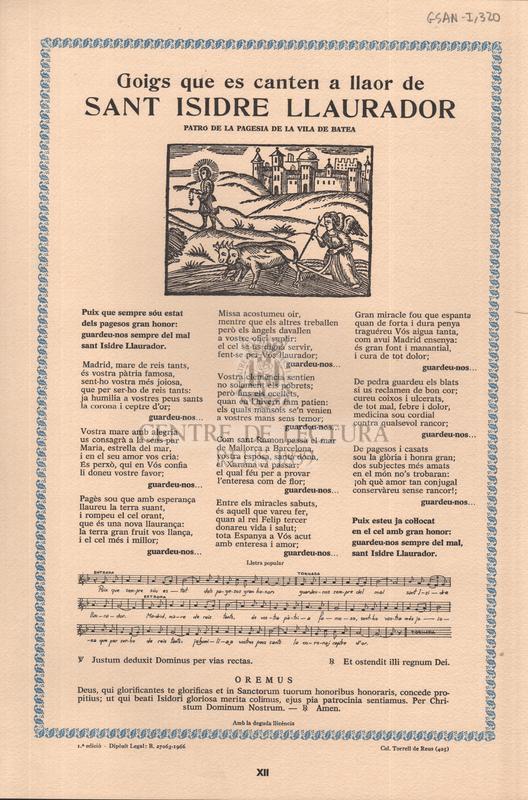 Goigs que es canten a llaor de sant Isidre Llaurador patró de la pagesia de la vila de Batea