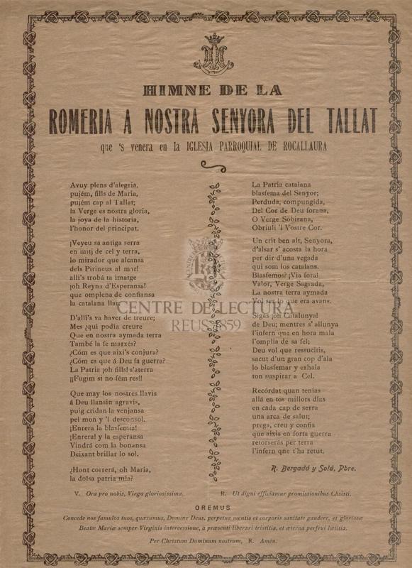 Himne de la Romeria a Nostra Senyora del Tallat que 's venera en la Iglesia Parroquial de Rocallaura