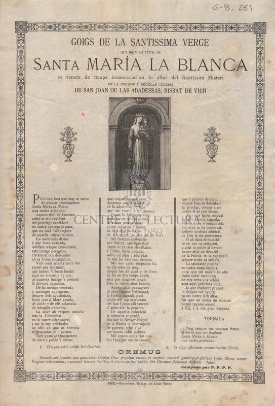 Goigs de la Santíssima Verge que baix lo títol de Santa Maria la Blanca se venera de temps inmemorial en lo altar del Santíssim Misteri en la insigne y secular Iglesia de Sant Joan de las Abadessas, Bisbat de Vich