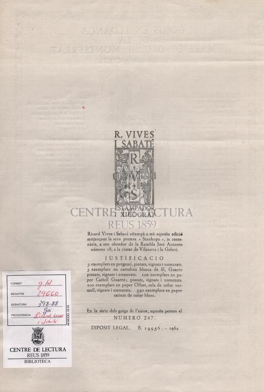 Goigs en lloança de la Mare de Deu de Montserrat venerada a Ceuta.  Aquesta edicio esta patrocinada per la Pontificia i Reial Confraria de Nostra Senyora de Montserrat de Ceuta.