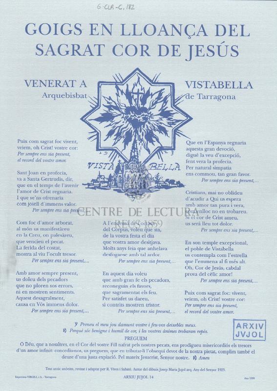 Goigs en lloança del Sagrat Cor de Jesús, venerat a Vistabella, Arquebisbat de Tarragona