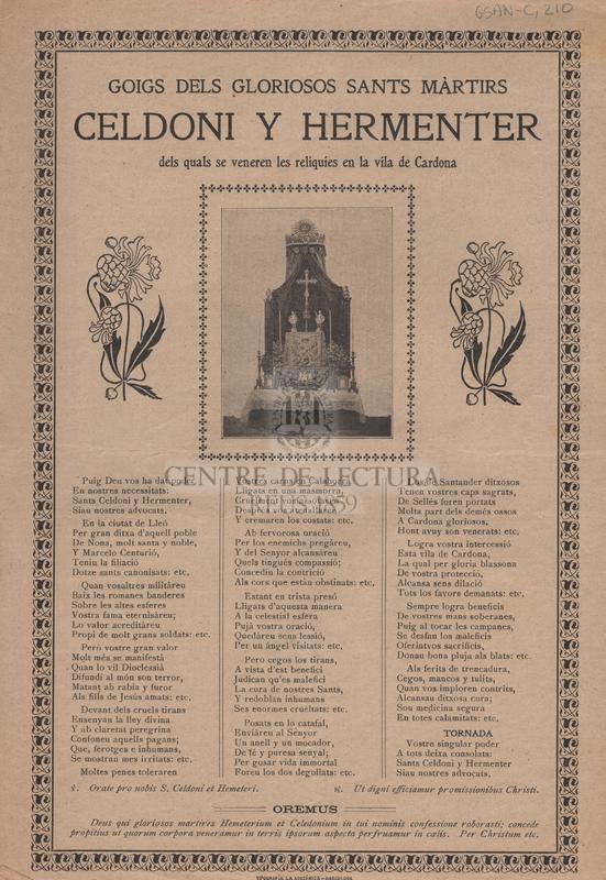 Goigs dels gloriosos sants mártirs Celdoni y Hermenter dels quals se veneren les relíquies en la vila de Cardona