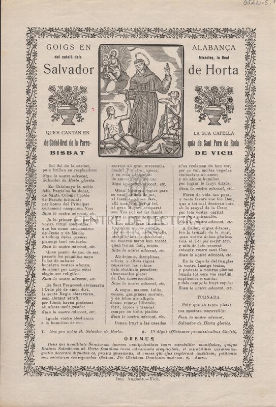Goigs en alabança del catalá dels Miracles, lo Beat Salvador de Horta. Que's canten en la sua capella de Códol-Dret de la Parroquia de Sant Pere de Roda. Bisbat de Vich