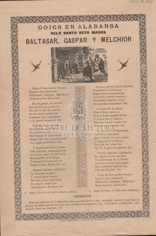 Goigs en alabansa dels Sants Reys Magos Baltasar, Gaspar y Melchior