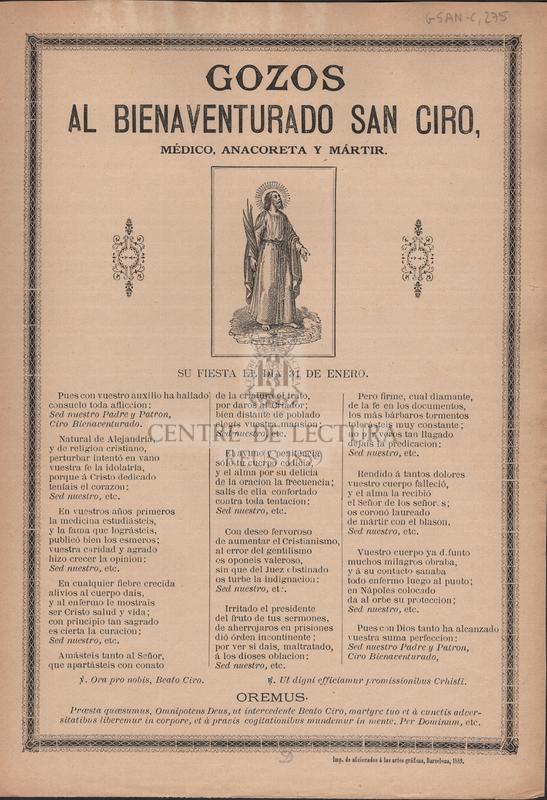 Gozos al bienaventurado San Ciro, médico, anacoreta y mártir. Su fiesta el dia 31 de enero