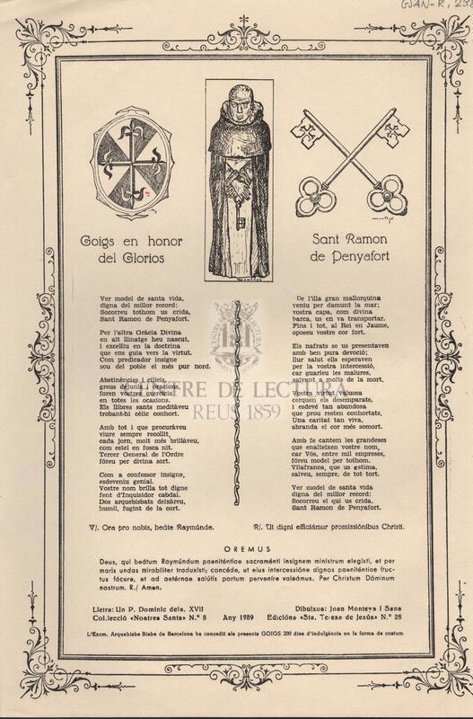 Goigs en honor del Glorios Sant Ramon de Penyafort