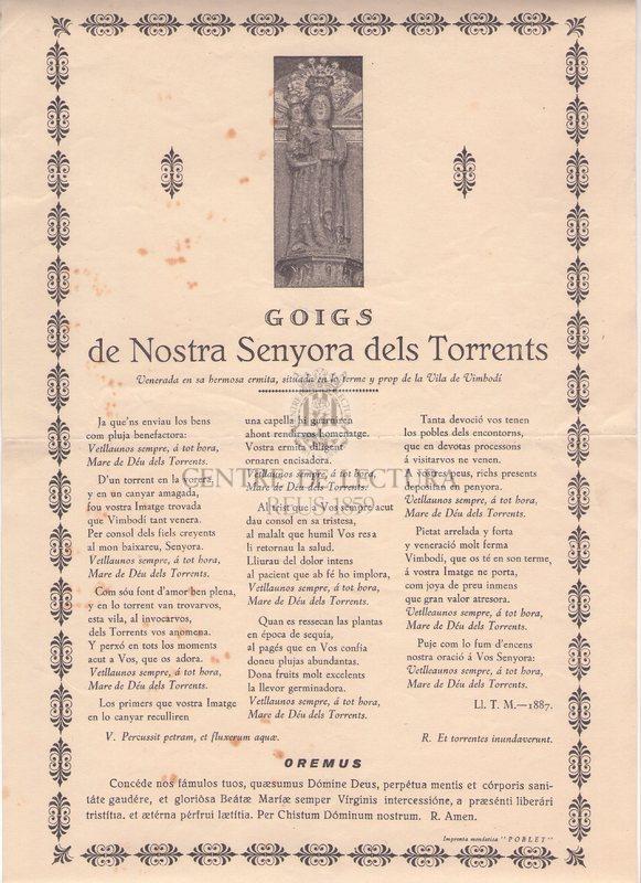 Goigs de Nostra Senyora dels Torrents Venerada en sa hermosa ermita, situada en lo terme y prop de la Vila de Vimbodí