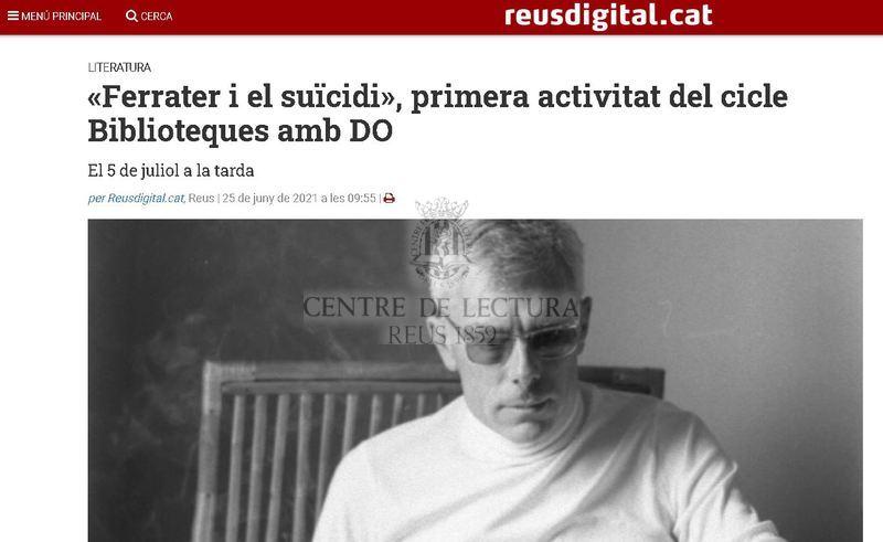 «Ferrater i el suïcidi», primera activitat del cicle Biblioteques amb DO