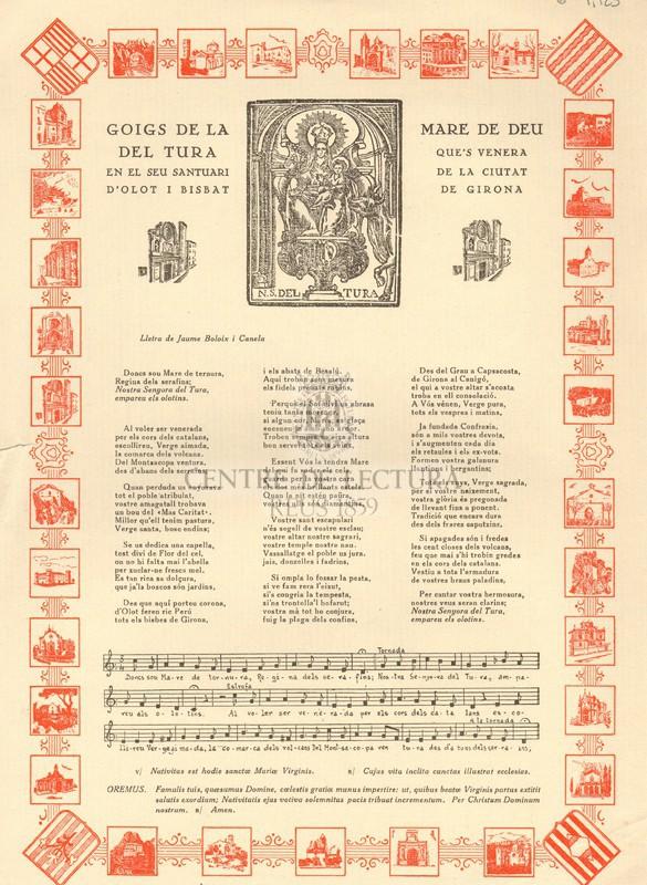 Goigs de la Mare de Deu del Tura que's venera en el seu santuari de la Ciutat d'Olot i Bisbat de Girona