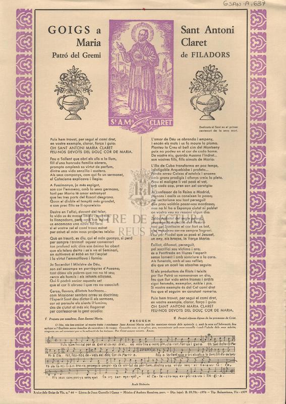 Goigs a Sant Antoni Maria Claret Patró del Gremi de Filadors