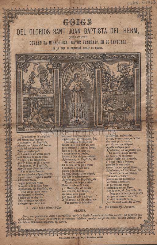 Goigs del gloriós sant Joan Baptista del Herm, que's cantan devant sa miraculosa imatge venerada en lo santuari de la vall de Castellbó, Bisbat de Urgell