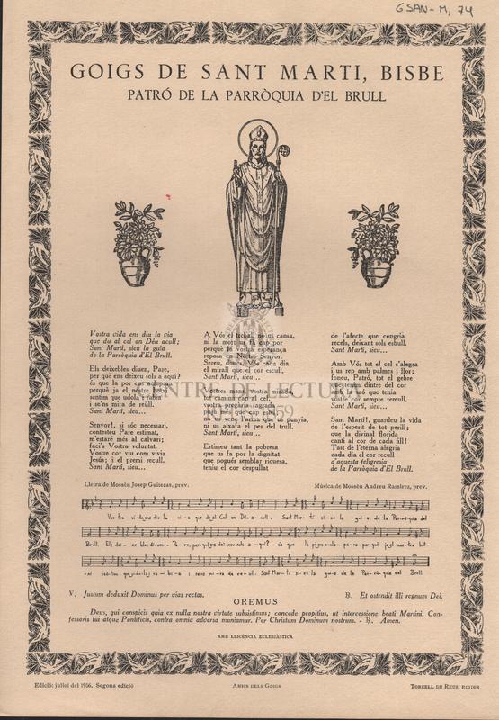 Goigs de Sant Marti, Bisbe patró de la parròquia d'el Brull