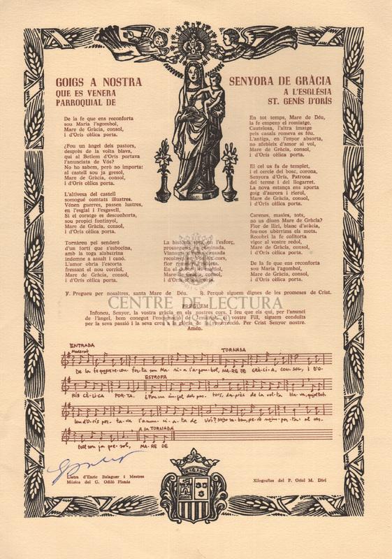 Goigs a Nostra Senyora de Gràcia que es venera a l'Església parroquial de St. Genís d'Orís