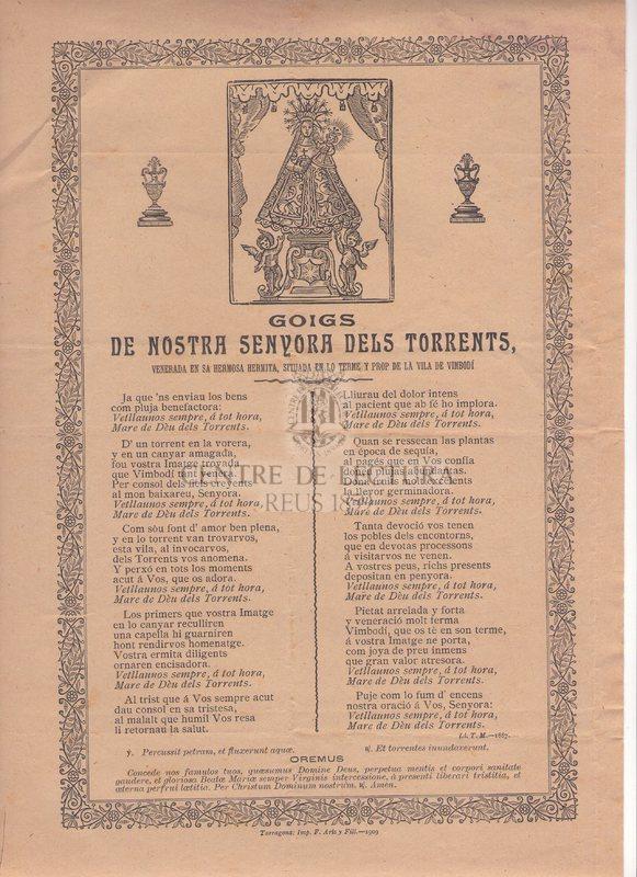 Goigs de Nostra Senyora dels Torrents, venerada en sa hermosa hermita, situada en lo terme y prop de la Vila de Vimbodí