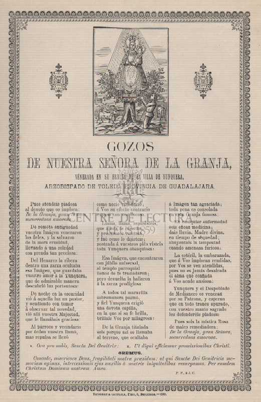 Gozos de Nuestra Señora de la Granja, venerada en su ermita de la villa de Yunquera, arzobispasa de Toledo, provincia de Guadalajara