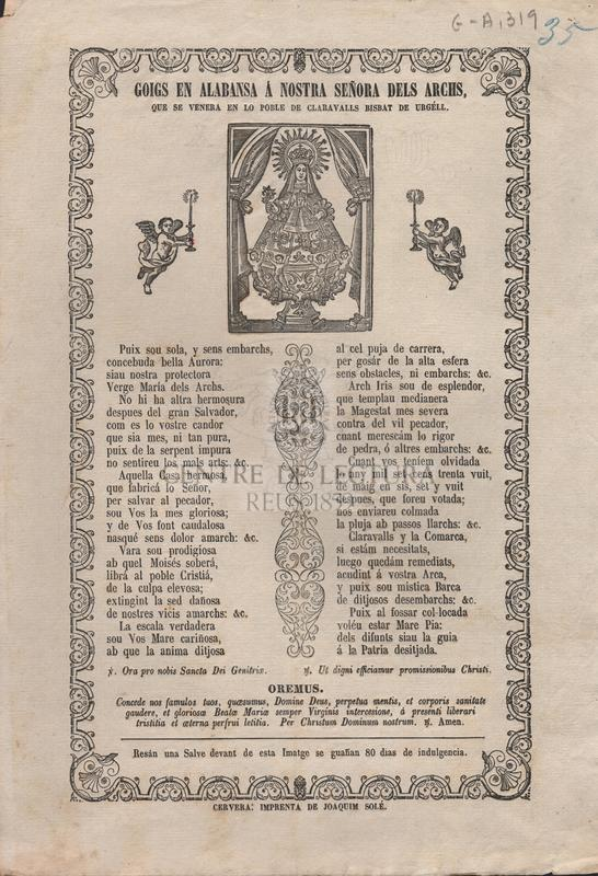 Goigs en alabansa á Nostra Señora dels Archs, que se venera en lo poble de Claravalls bisbat de Urgéll