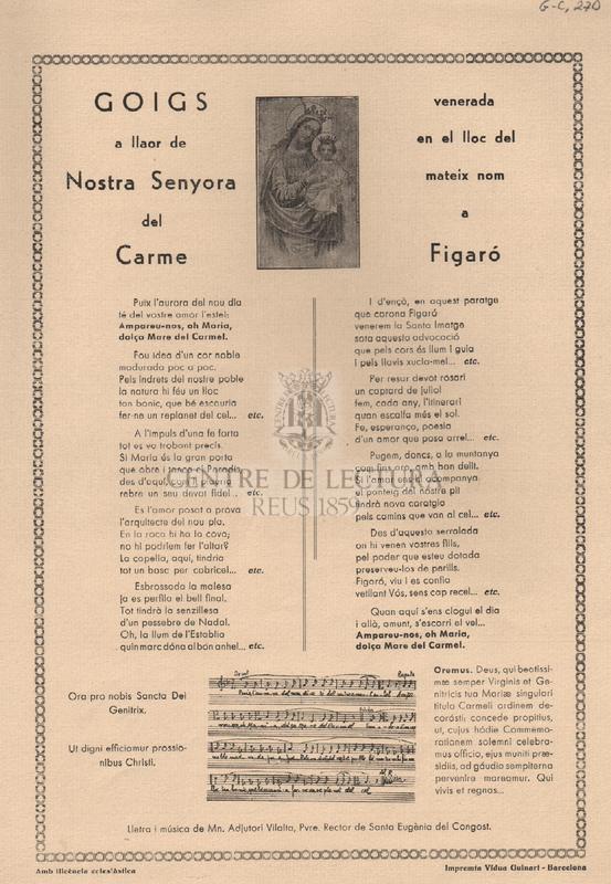 Goigs a llaor de Nostra Senyora del Carme venerada en el lloc del mateix nom a Figaró.