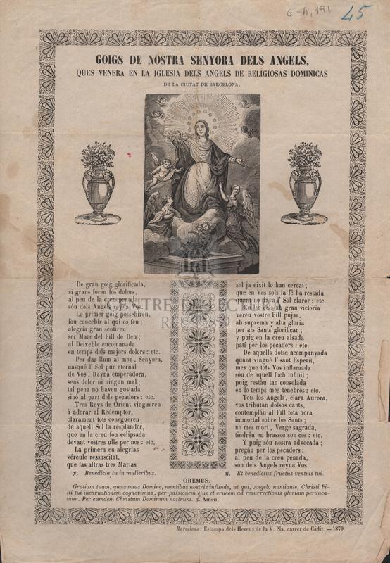 Goigs de Nostra Senyora dels Angels, ques venera en la Iglesia dels Angels de religiosas dominicas de la ciutat de Barcelona