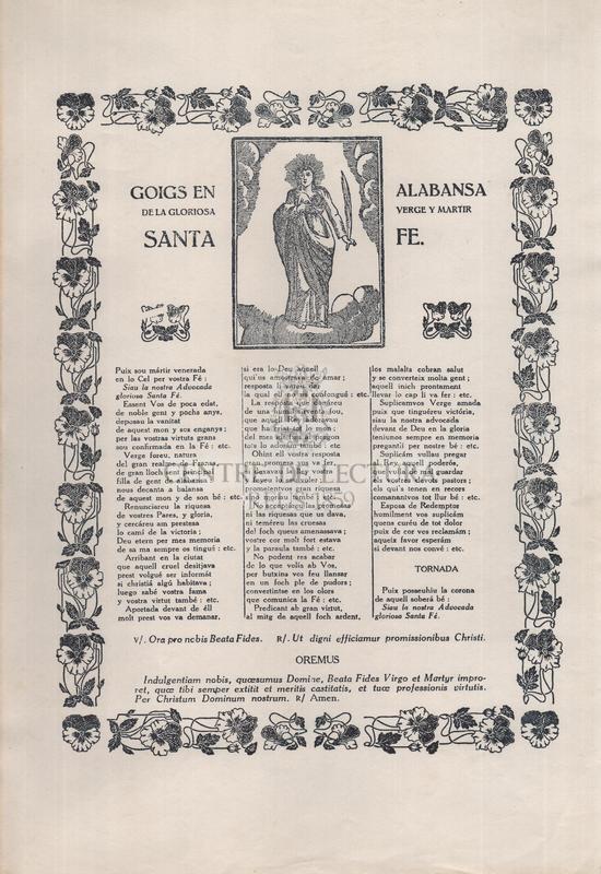 Goigs en alabansa de la gloriosa verge y martir Santa Fe